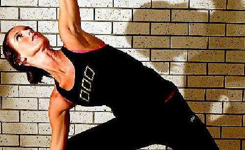 Stress relief: Hot Yoga teacher Trudi Miller strikes a pose.