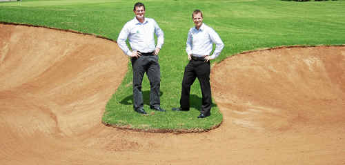 PGA of Australia officials Dominic O'Brien (left) and Broc Greenhalgh at Toowoomba's City Golf Club yesterday inspecting the course ahead of next month's Queensland PGA Championship.