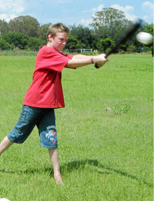 Murphys Creek's Stoney Graves gets into the swing of things at the sports development day.