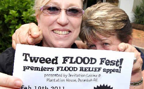 Jenny Zwemer and Margie Quirk are getting ready for the Tweed Flood Fest at Plantation House, Duranbah.