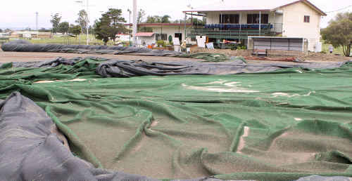 Warwick Hockey Association's synthetic field was ripped up by flood waters, highlighting the damage that has been done to some sporting venues on the Darling Downs.