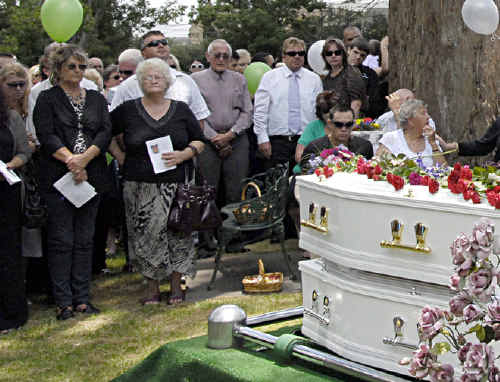 Balloons were released after mourners gathered around the coffins of Jordan and Donna Rice at Drayton