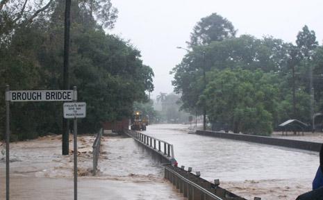 BROUGH BRIDGE IN Esk struggles to cope with the deluge.