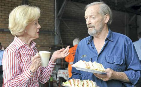 Chat and a cuppa: Australian Governor-General, Quentin Bryce, chats to Brushgrove SES volunteer John Beal during her visit to the Brushgrove SES headquarters yesterday.