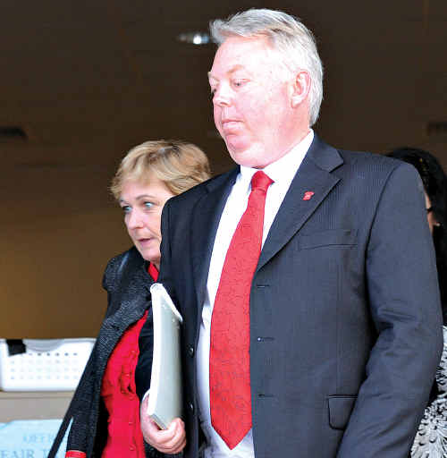 Denise and Bruce Morcombe leave the Daniel Morcombe inquest at the Maroochydore Court House.