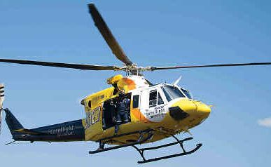 The RACQ CareFlight helicopter.