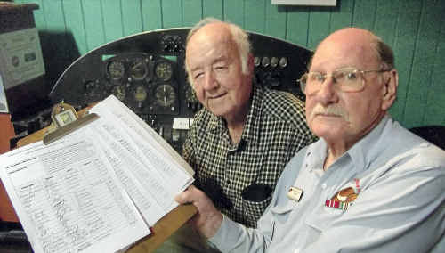 Ken Oakes (left) and Peter Flexman have been rallying support to have a memorial to a World War II hero moved to the Milne Bay Military Museum.