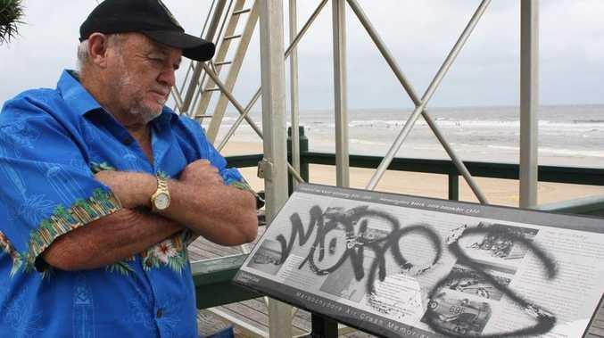 War veteran Geoff Fallis is outraged that a memorial on Maroochydore Beach has been vandalised. Photo Kieran Campbell / Sunshine Coast Daily