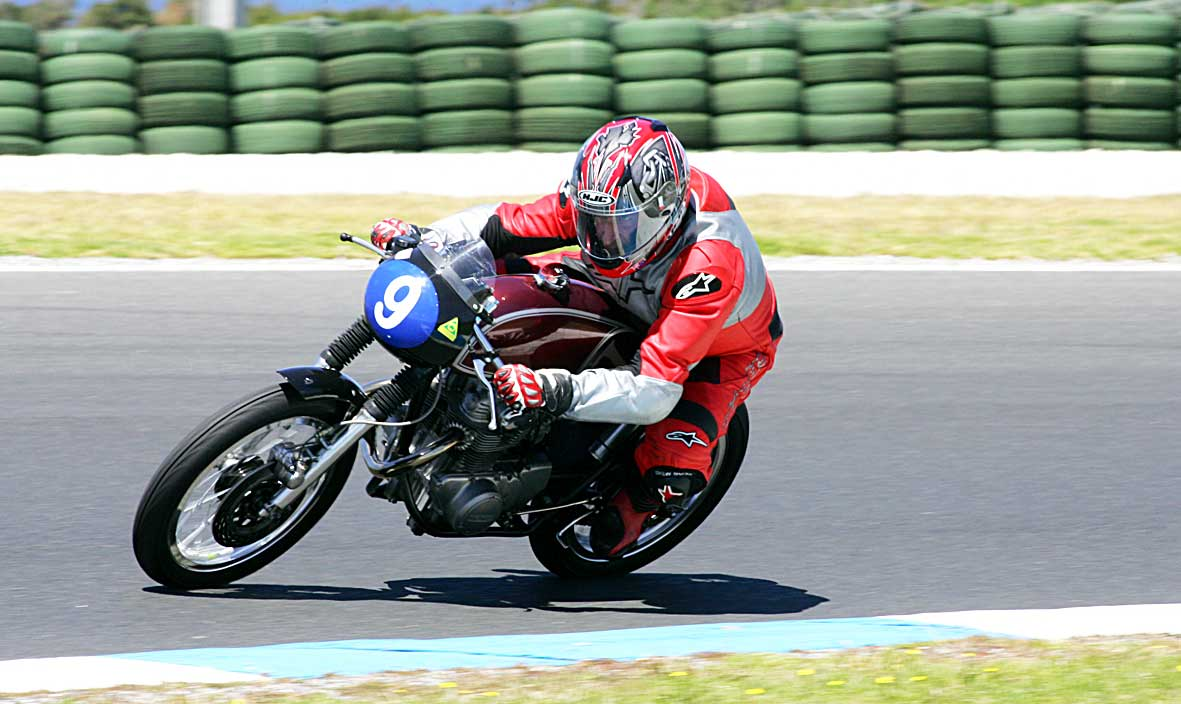James Dwight tearing up the Phillip Island track at the Island Classic race meeting last year.