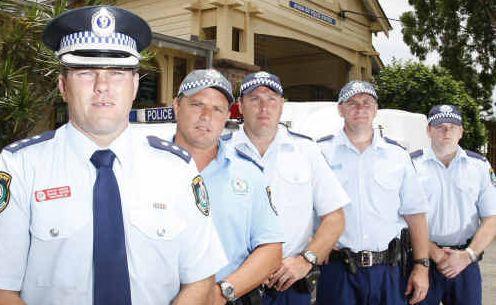 On patrol: (Left to right) Detective Inspector Shane Diehm with senior constables Richard Hughes, Adam Curtis, Adam Amos and Robert McCallum.