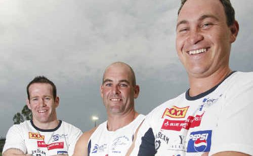 Former Ipswich Jets teammates (from left) Michael Ryan, Dan Coburn and Mat Cameron have reunited at Brothers for the Ipswich Rugby League season.