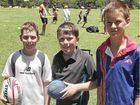 Getting ready for an active day are (from left) Josh Eiser, 10, Tim Doddard, 11 and Tom Clark, 11.