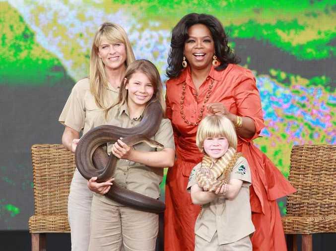 The Irwins on set with Oprah Winfrey.