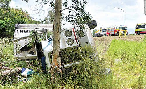 A semi-trailer travelling north on the Bruce Highway came to grief at Yandina when the driver lost control.
