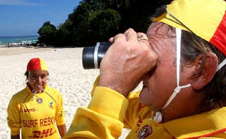 Surf safety: Lifesavers Rodney and Mariah Jones on patrol on Coolangatta Beach.