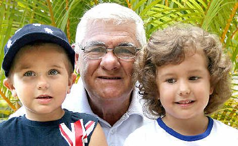Aussie, Aussie, Aussie! Two-time Tweed Shire Citizen of the year Chris Chrisostomos with grandchildren Vanessa and Blake Taylor.