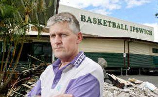 Ipswich Basketball Association vice-president Pat Ralph at the flood-damaged stadium.