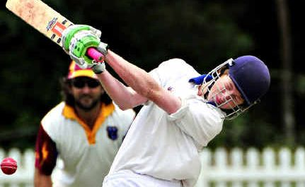 Nambour's opening batsman Nick Wallace on the attack against Tewantin-Noosa at Read Park, Tewantin. He was out for six with Nambour's total proving not enough to win.