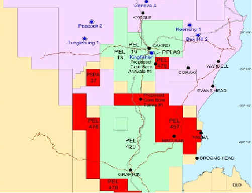 This map shows the exploration and mining leases of the three companies in the Clarence Valley and beyond. The green area is Metgasco, the red is Red Sky Energy and the pink belongs to Arrow Energy.