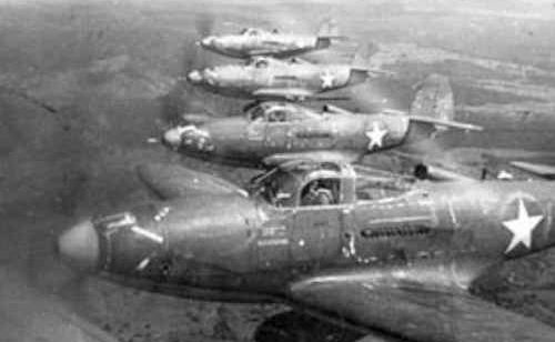 Formation of P-39Ds over Amberley in 1942.
