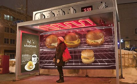This Minneapolis bus shelter promotes Caribou Coffee's new hot breakfast sandwiches.