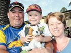 Enjoying a family night at the speedway are Jason and Leanne Chapman with son Jake, 3.