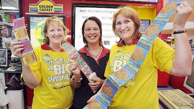 Staff at Fraser Gateway Newsagency (L) Chris McKechnie, Kylie Bromhead and Leonie Ellis where the ticket was sold.