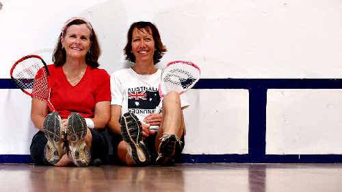 Joy Cordner and Alison Thompson enjoyed one last game.