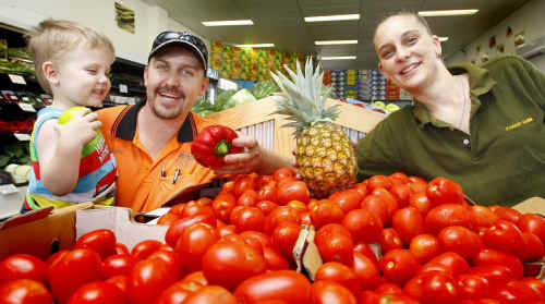 The Fresh Fruit Shak owners Stuart and Zoe Chalk with their son Tyler, 2.