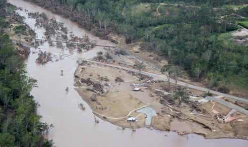 This aerial shot of Colleges Crossing show the appalling destruction caused by the recent flood.