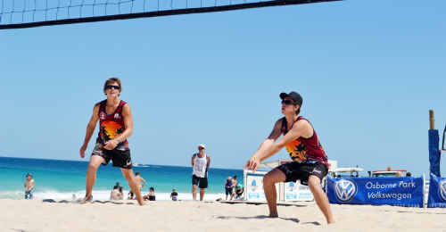 Matt Mechia and Peter Chant organised sponsors to help get them to the national beach volleyball titles.