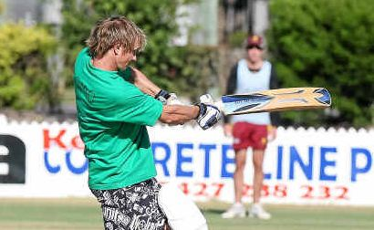 Mr Westies' Crew batsman Luke Thomas hits out in the Bundaberg Seven-a-Side Division 1 final at Salter Oval yesterday.