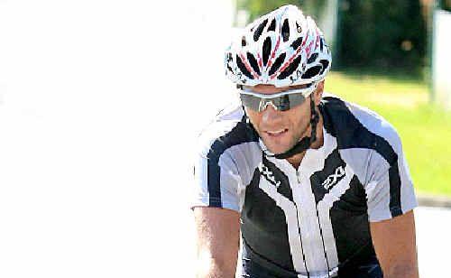 Tyalgum Cycle Classic Winner Jonathan Cantwell heads towards the finish line.