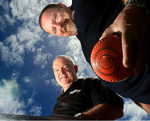 ROBINA Bowls Club chairman Terry Marsh and member Gavin Cowan. PHOTO: JOHN GASS D130199