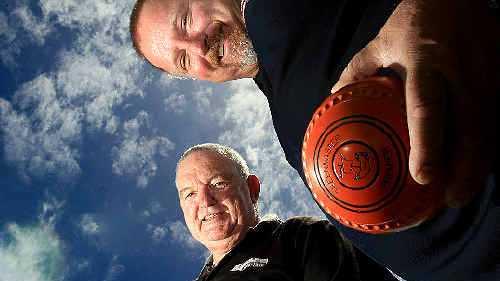 ROBINA Bowls Club chairman Terry Marsh and member Gavin Cowan. PHOTO: JOHN GASS D130199