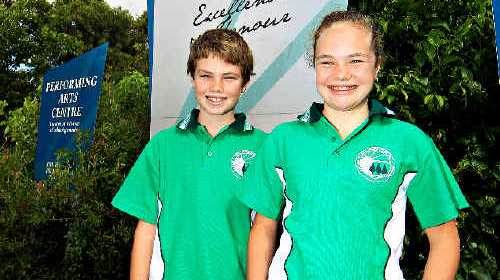 TWINS, Harry and Grace Bartlett will represent Elanora State Primary as its school captains. PHOTO: SCOTT POWICK D130524a