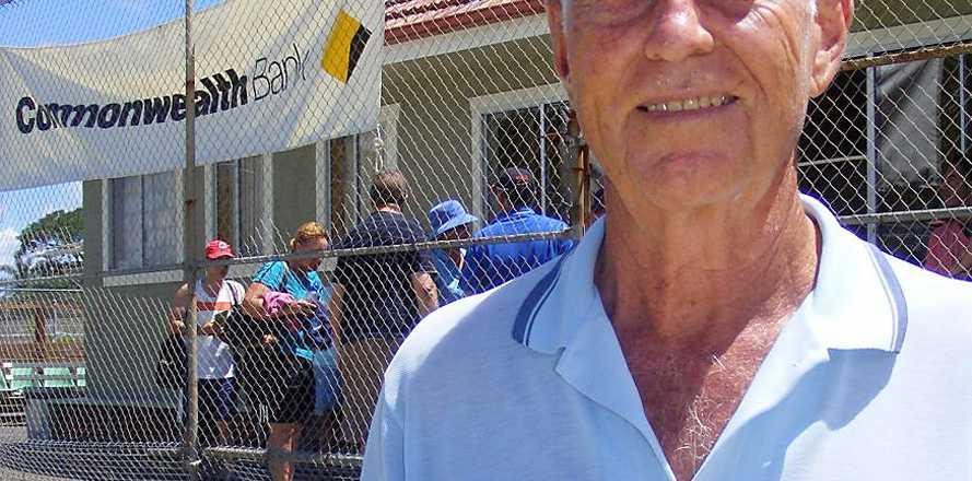 IN APPRECIATION: Bill Cox, of Ballina, was last Sunday presented with an award for his work at the Ballina Tennis Club.
