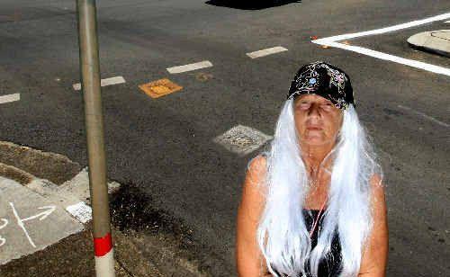 Lorrainne Hanson at the Byangum Road roundabout.