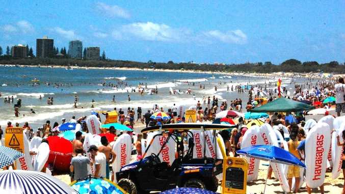 More than 1167 people took to the water on their inflatable thongs when the official world record attempt took place at 12.45pm on Mooloolaba Beach.