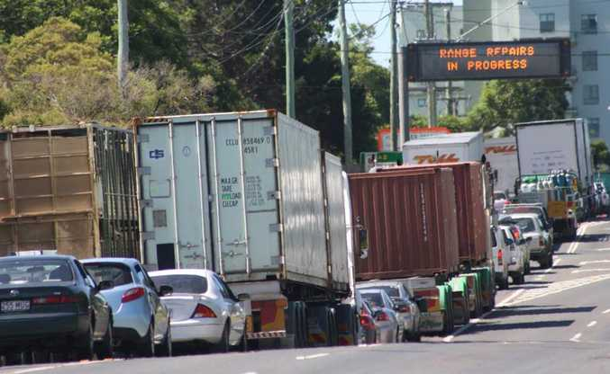 Traffic is banked up at the top of the Toowoomba Range as repairs are carried out on the highway.