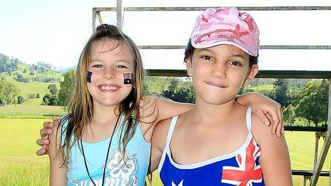 Chloe Baker and Amy Pitt celebrate Australia Day at Tyalgum.