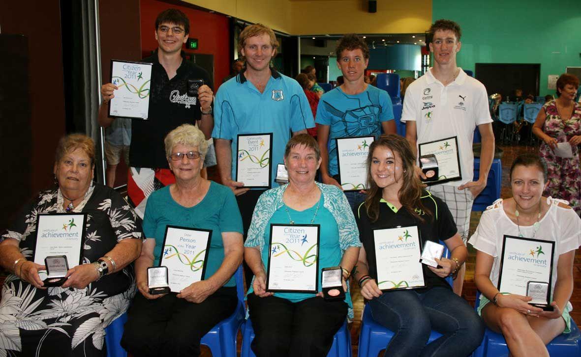 Australia Day award winners. Back: Ben Lloyd-Lewis, Stephen O'Brien, Luke Henry, David Nicholas. Front: Lola Mudie, Arlene Robertson, Edith Forse,  Chez Rock and Danielle Seymour.