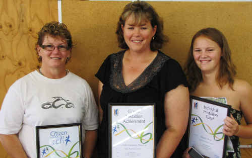 WINNERS: Citizen of the Year Sharon Ward with award winners Tam Summerfield and Belinda Ward. cont