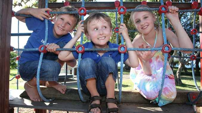 Five-year-old Goerge Storie (centre) enjoys holiday fun with his brother Angus, 8, and sister Emma, 10.