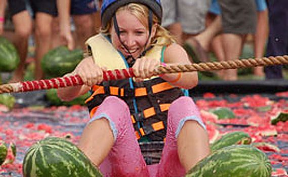 Melon skiing is just one of the melon-related events at the Chinchilla Melon Festival.