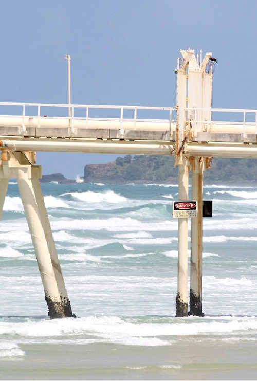 Under investigation: A 73-year-old man was found floating about 500m south of the sand-pumping jetty at Fingal Head.