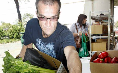 Ben Kirk collecting fresh produce from Bremer Tafe.