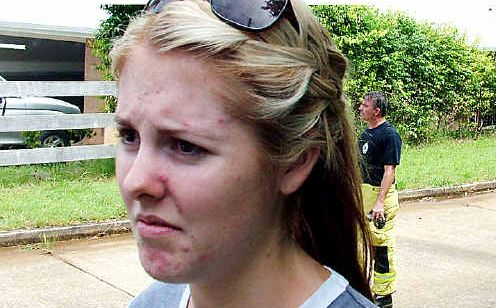 Tewantin woman Paige Ahearn feared that her house was going to go up in flames when the house next door caught fire.