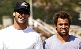 Chilling out: Dean Morrison with good mate and fellow Gold Coaster Joel Parkinson.