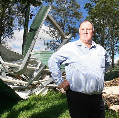 Lockyer Valley Regional Council mayor Steve Jones looks over damage in Helidon after last month's devastating floods.